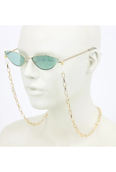 Cosibella Mini Uzun Oval Zincirli Altın Renk Kaplama Gözlük Zinciri Gold
