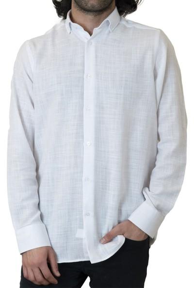 Izev Oki Sosyal Destek Ürünleri Flam Keten Beyaz Gömlek