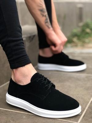 Velizade Yüksek Taban Günlük Erkek Ayakkabı Bağcıklı Klasik Spor Süet Siyah Beyaz