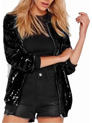 Bayanlar Gevşek Pullu Beyzbol Ceketi-Siyah