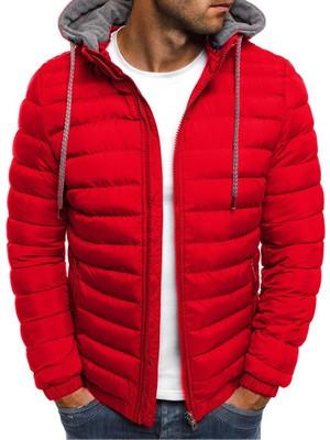 Chance Petcastle Erkek Kısa Sıcak Kapüşonlu Pamuklu Ceket-Kırmızı (Yurt Dışından)