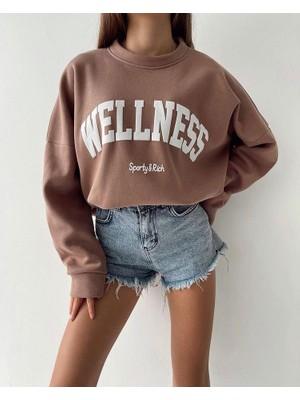 Pırıltı Kadın Kahverengi Welness Baskılı Oversize Sweatshirt