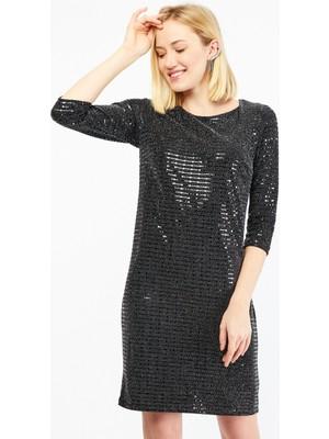 Pera Club Yarım Kol Pullu Mini Siyah Abiye Elbise