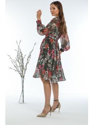 Aymeravm Kuşaklı Çiçek Desenli Elbise
