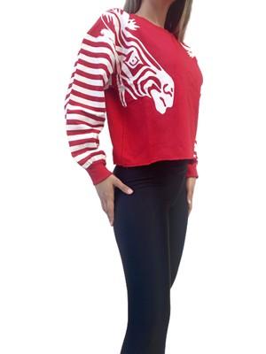 Lsk Moda Kadın Kırmızı Zebra Baskılı Sweatshirt