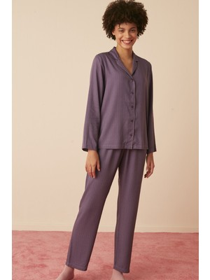 Penti Lila Lilac Stripes Gömlek Pantolon Takımı