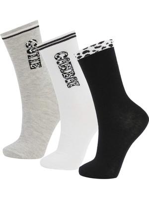 DeFacto Kadın Desenli 3'lü Uzun Çorap V5076AZ21WN