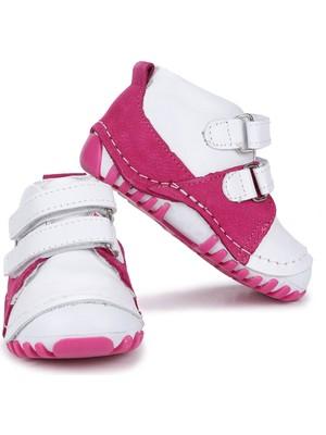 Kiko Kids Teo 404Deri Cırtlı Kız Çocuk Ayakkabı Fuşya - Beyaz