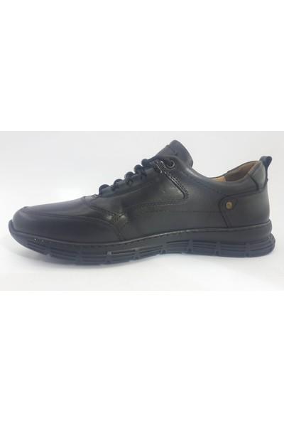Black Leg Siyah Deri Dış Yüzey Deri Iç Kaplama Kauçuk Taban Erkek Ayakkabı