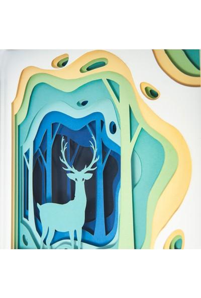 WallDeppo Kağıt Sanatı Tablo 3D Geyik - Paper Craft Table Deer