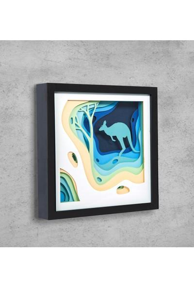 WallDeppo Kağıt Sanatı Tablo 3D Kanguru - Paper Craft Table Kangaroo