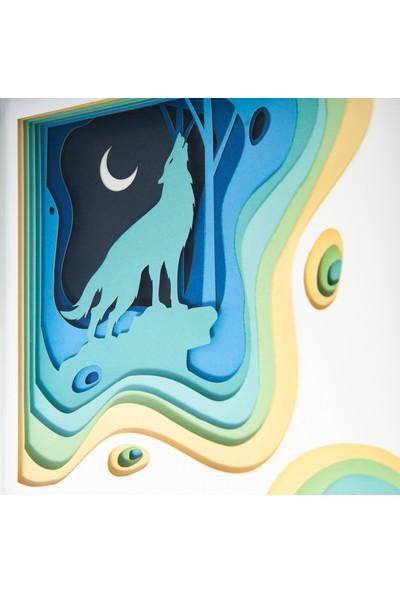 WallDeppo Kağıt Sanatı Tablo 3D Kurt - Paper Craft Table Wolf