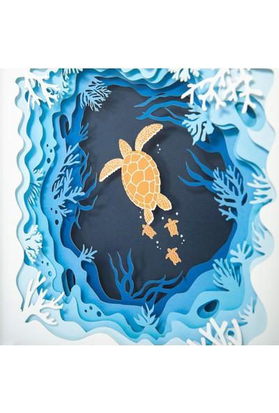 WallDeppo Kağıt Sanatı Tablo 3D Kaplumbağa - Paper Craft Table Turtle