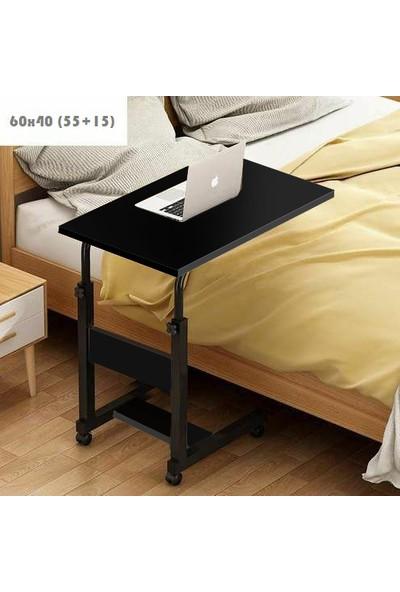 Yükseklik Ayarlı Dikey Laptop ve Servis Sehpası - Siyah (Tekerli)