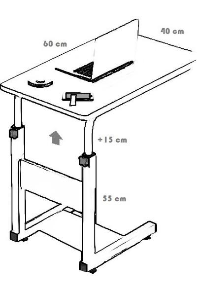 Yükseklik Ayarlı Dikey Laptop ve Servis Sehpası - Beyaz (Tekerli)