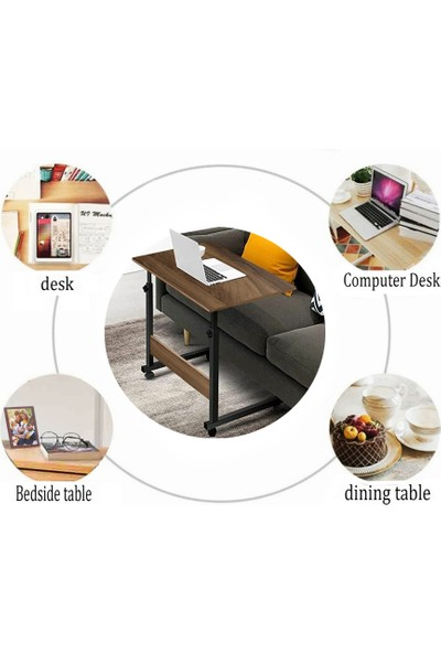 Yükseklik Ayarlı Yatay Laptop Sehpası ve Çalışma Masası - Ceviz (Tekerli)