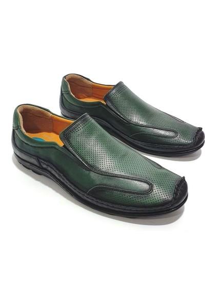 Çetintaş Deri Erkek Günlük Ayakkabı - Yeşil - 41