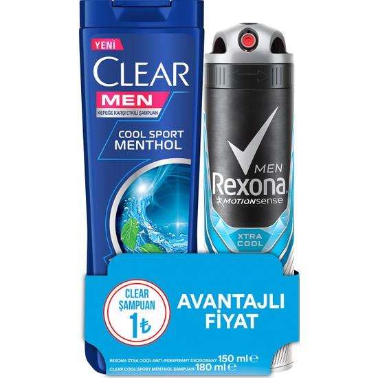 Rexona Xtra Cool Erkek Sprey Deodorant 150 ml + Clear Men Cool Sport Şampuan 180 ml Set