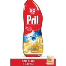 Pril ADW Gold Jel Bulaşık Makinesi Deterjanı 2x900ml (100 Yıkama) Hijyen+Yağ Çözücü+Antibak. Islak Mendil Hed
