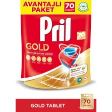 Pril Gold 70 Yıkama Bulaşık Makinesi Deterjanı + Elde Yıkama 675g Limon + 769g Losyon + 11L Kova Hediye