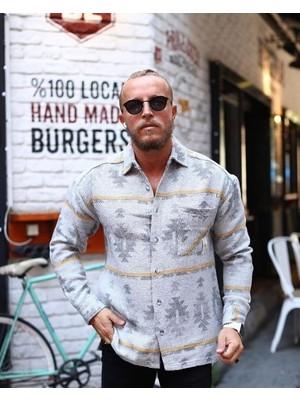 Marrakech Etnik Desen Oversize Oduncu Gömlek