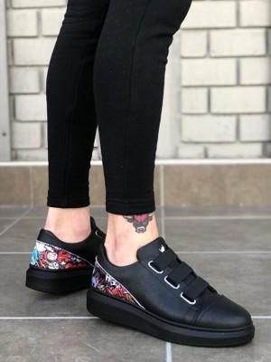 Pabucmarketi - 3 Bant Legend Siyah Desenli Kalın Siyah Taban Casual Erkek Ayakkabı