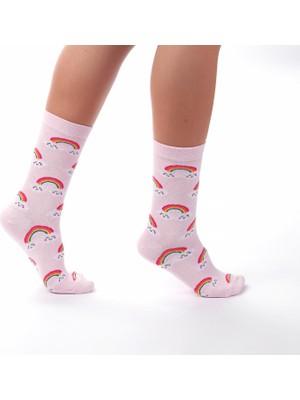 Hayalevi Consept Gökkuşağı Desenli Pembe Renk Soket Çorap