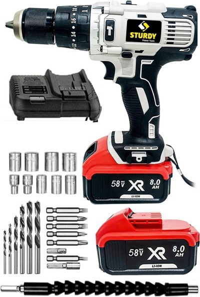 Sturdy Pro XR4850XLG Li-On 48 Volt 5 Amper Şarjlı Çift Akülü Darbeli Matkap 27 Parça Usta Setli