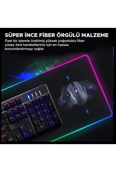 Sprange Rgb Led Işıklı Oyuncu Mouse Pad Fare Altlığı Kaymaz Taban 30x80 Cm