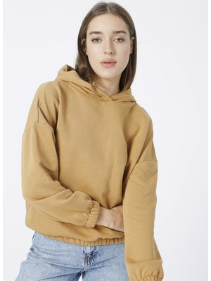 Fabrika Kapüşonlu Deve Tüyü Kadın Sweatshirt