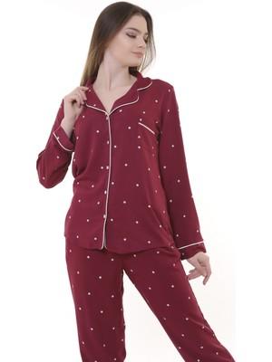 Besimma Kadın Bordo Yıldızlı Pamuk Saten Pijama Takımı