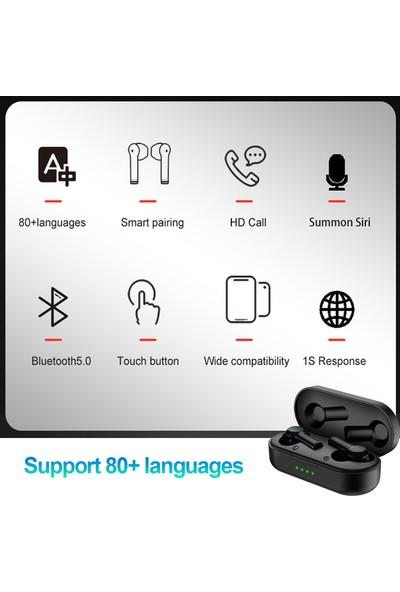 80 Çoklu Dil Anında Ses Çevirici Tws Kablosuz Bluetooth Kulaklık Siyah