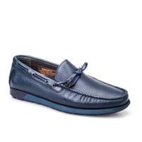 Cabani Marin Tekne Günlük Erkek Ayakkabı Lacivert Kırma Deri