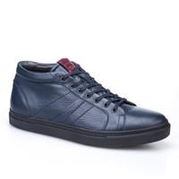 Cabani Bağcıklı Yarım Günlük Erkek Ayakkabı Lacivert Kırma Deri