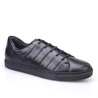 Cabani Dikişli Günlük Erkek Ayakkabı Siyah Deri