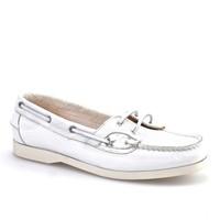 Cabani Marin Tekne Günlük Kadın Ayakkabı Beyaz Kırma Deri