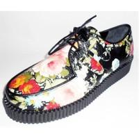 Köstebek Creepers Ayakkabı Çiçekli Siyah