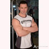 Bodydrom 003-02-Bdt Beyaz-Antrasit Kolsuz T-Shirt