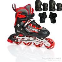 Cosfer Roller Blade Tekerlekli Paten Kırmızı Aliminyum Abec 7 & Koruyucu Set