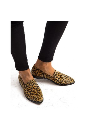 Mecrea Exclusive Molly Leopar Tay Tüyü Loafer Ayakkabı