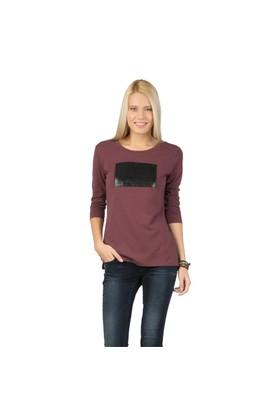 Colin's Bordo Kadın Tshirt Uzun Kol