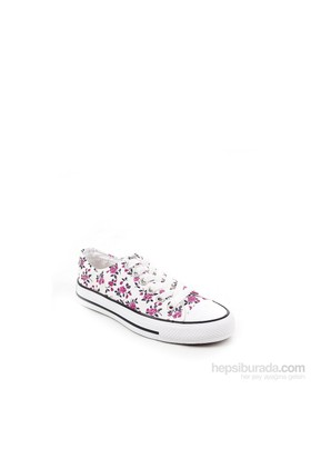 Gön Beyaz Çiçekli Keten Trend Kadın Ayakkabı 35992