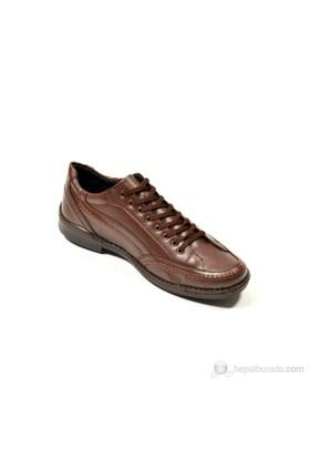 Y.T.S Bağcıklı Kahverengi Erkek Ayakkabı - Saat Hediyeli