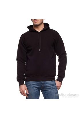 Köstebek Düz Siyah Fermuarsız Erkek Sweatshirt