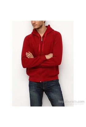 Köstebek Düz Bordo Fermuarlı Erkek Sweatshirt