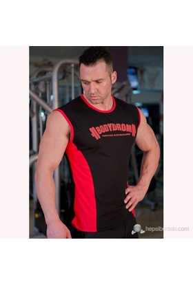 Bodydrom 003-01-Bdt Siyah-Kırmızı Kolsuz T-Shirt
