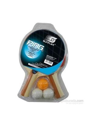 Sunflex Ping 2 Raket+3 Top Masa Tenisi Seti