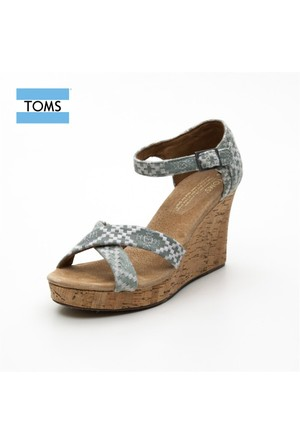 Toms 10001371 Denim Embroidered Strappy Denim Ayakkabı