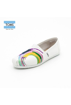 Toms 10005085 White Satin Embroidery Wm Clsc Alprg White Ayakkabı