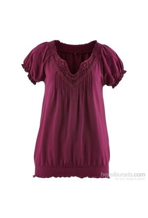 Bpc Bonprix Collection Lila Yakası Dantelli Tshirt 34-54 Beden